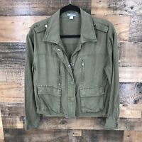 Market & Spruce Women's Olive Green Full Zip Utility Jacket Size Small