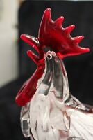 Murano Italian Art Glass - GIANT ROOSTER - *Bright Red Tail Feather* HEAVYWEIGHT