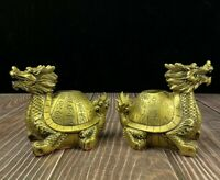 Pair Feng Shui Decor golden brass Dragon Turtle Lucky longevity Wealth Statue