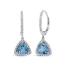 3.14TCW 14K White Gold Trillion Triangle Blue Topaz Diamond Dangle Drop Earrings