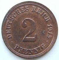 Top! 2 Pfennig 1915 F IN Extremely fine