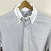 LNWOT Brooks Brothers Black Fleece White Gray Stripe French Cuff Dress Shirt BB2