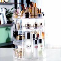 3 Tier Cosmetic Makeup Box Storage 360° Rotating Stand Organizer Large capacity