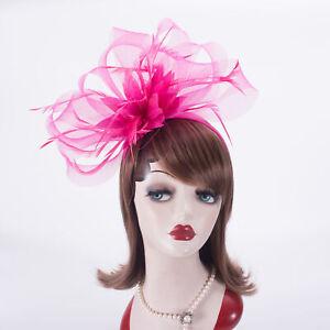 Hot Pink Women Derby Crin Fascinator Wedding Church Hat Headband Headpiece T458