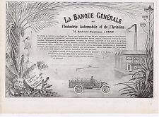 PUBLICITE ADVERTISING 054 1911 La Banque GENERALE Industrie Automobile Aviation