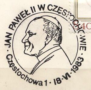 POLAND 1983.06.18 POSTMARK  II Visit, Pope John Paul II