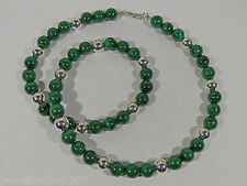 """Malachite Sterling Bead Necklace Grade AA 10mm 24"""" Length Steel Cord Hook Clasp"""