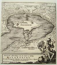 Ratzeburg Beschießung durch die Dänen 1693 echter alter Kupferstich um 1750