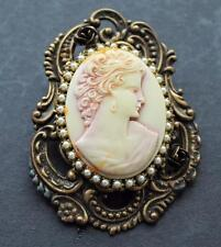 Vintage Signed DENISE BROWN Bronze tone Faux Pearls Pink CAMEO Pin Brooch