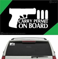 Carry Permit On Board Funny Auto Decal Car Truck Window Decal For Pro Gun Owners