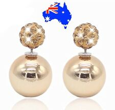 Gold Stylish Double Sided Crystal Pearl Stud Ball Shamballa Diamanté Earrings
