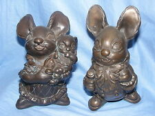 Pendelfin Metallion Range Cold Cast Bronze Mother and Father Rabbits
