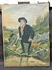 OLD VINTAGE OIL & CANVAS FISHERMAN PAINTING (1871) RUSSIA,COPY, PAINTED BY BINDU