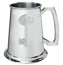 More details for 21st birthday key 1pt pewter tankard plain with embossed key can be engraved