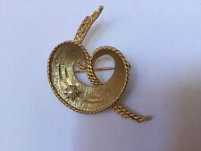 Vintage Gold Tone Faux Pearl Mamselle Textured Fancy Brooch or Pin