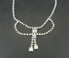 Necklace Vintage Clear Rhinestones Silver Plate Square Stone Dangles CHOKER