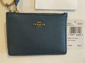 Coach Women's Mini Skinny ID Case/ credit card /Wallet key chain, Leather,blue