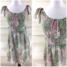 J. Crew 100% silk pink green floral boho chic casual party dress classic 2 S