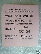 Tickets- 1961 WEST HAM UNITED v WOLVERHAMPTON WANDERERS, 18th Dec -Geoff Hursts