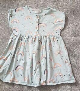 NWOT NEXT Baby Girl Blue Rainbows Glitter Button Short Sleeve Dress 12-18 Months