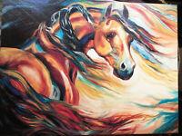 "MARCIA BALDWIN ART  ""WIND"" HORSE CANVAS WALL ART EQUESTRIAN EQUINE HOME DECOR"