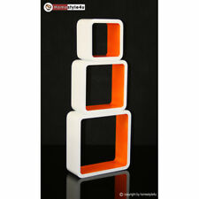 Cube Design Retro Wandregal CD Regal orange Bücherregal Cubes Würfel 3 er Set