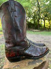 Justin 70292 Black Cherry Ostrich Skin Cowboy Boots Roper 11.5 B