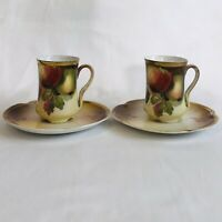 Antique J&C Luise Bavaria Porcelaine Cup And Saucer Apples Set Of 2 Green Gold