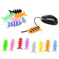 10Pcs Silicone Fish Bone Headphone Earphone Cable Mouse Winder Holder Organizer