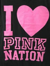 NWT Victoria's Secret M LOVE PINK Nation Graphic T Shirt V Neck Heart Top Black