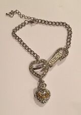 Juicy Couture Chain Bling Crown Heart & Horseshoe Logo Charm Bracelet Rhinestone