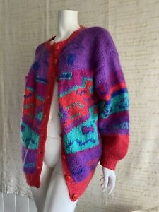 Vintage Hand knitted Mohair Blend Cardigan Sweater 80s Colourful Size 12 14