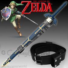 New Zelda Triforce Link Hylian Twilight Master Sword Black Leather Belt Stitched