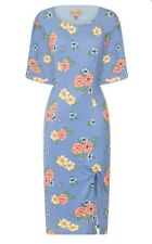 NEW LINDY BOP Size 14 Blue Floral Bee Rockabilly Wiggle DRESS Vintage 40s 50s