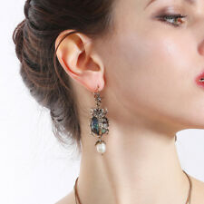 Women Elegant Fashion Earrings Stud Rhinestone Star Insect Skull Pearl Jewelry