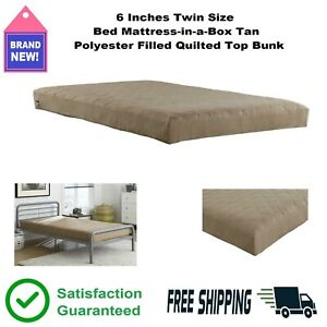6 Inch Polyester Filled Quilted Top Bunk Bed Mattress-in-a-Box Tan Twin Size 🛌