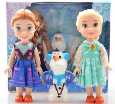 """3PCS Birthday Gift Playset Frozen Princess Elsa&Anna&Olaf 7"""" Doll Figures Set"""