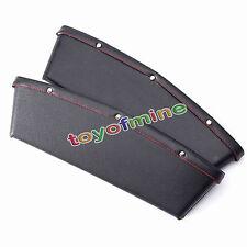 2x Black PU Leather Catch Box Caddy Car Seat Slit Pocket Storage bag