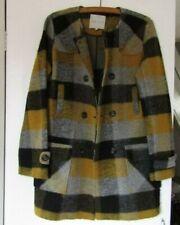 Kew 159 UK12 Wool Blend Double breasted Coat / Coatigan yellow black grey check