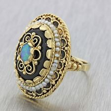 1970s Vintage Estate 14k Solid Yellow Gold Onyx Pearl Opal Cocktail Ring 11.8g
