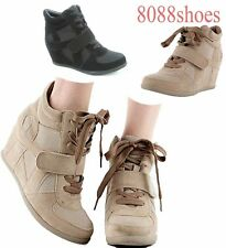 Women's High Top Lace Up Wedge Beige Black  Sneaker Shoes Size 5.5 - 10