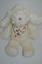 "Baby Gund White Dog Plush With Bandana 1990 Furry 12"""