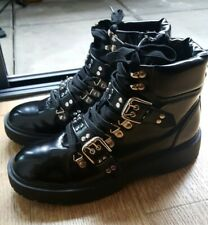 ASOS Truffle Collection Chunky Black Patent Buckle Studded Boots Size 7