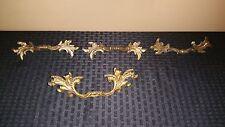 Set  of 3 Vintage Brass Drawer Handles Pulls Ornate Feathers