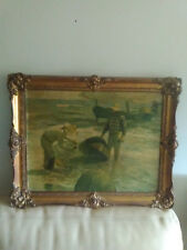 Superbe et ancienne peinture signée dans cadre bois,sculté et doré