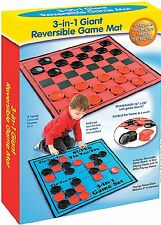 Kids Checkers Game Rug Board Large Jumbo Checkers Mat Family Rug Game In/Outdoor