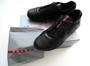 PRADA Black Claf Leather Fashion Sneakers Shoes Size 11 US 44 Euro 10 UK