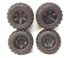 4 Traxxas 8S 1/5 X-Maxx AT Tires Black Wheels Assembled Glued 7772X / 6s Upgrade