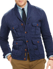 Polo Ralph Lauren Blue Terry Quilted Shawl Cardigan Jacket Coat Mens XS NEW $298
