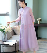 Elegant Womens Chinese Clothes Cheongsam Lace Dress Collar Ethnic New Banquet